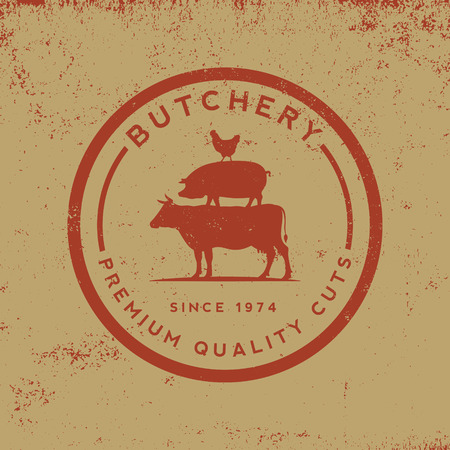farm animals: butchery label on grunge background Illustration