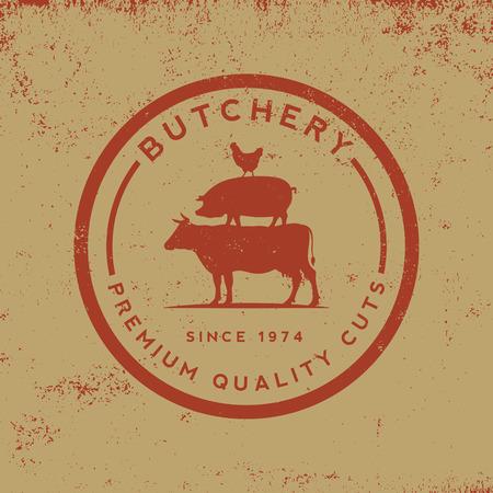 Carnicería: etiqueta de la carnicería en el fondo del grunge Vectores
