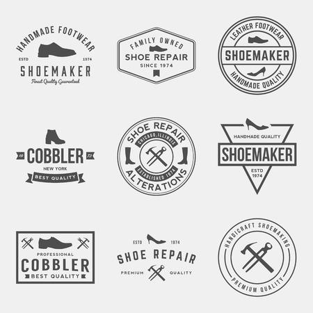 zapato: vector conjunto de zapatero y reparación de calzado etiquetas, escudos y elementos de diseño