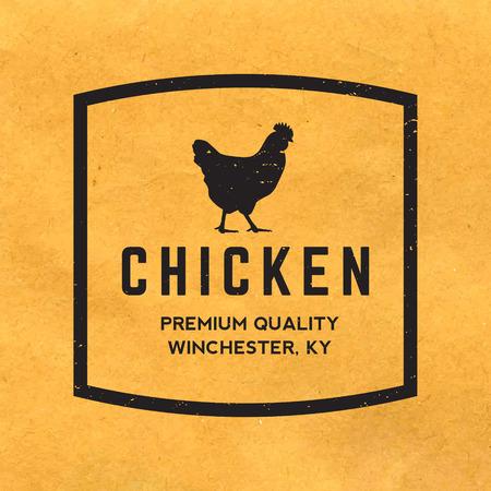 gallo: etiqueta premium carne de pollo con la textura del grunge en el fondo de papel viejo