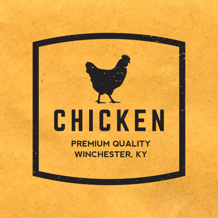 rooster: premium chicken meat label with grunge texture on old paper background