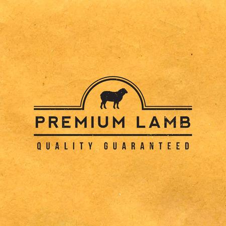 carnicero: etiqueta premium cordero con la textura del grunge en el fondo de papel viejo
