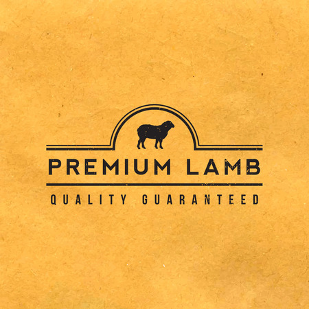 lamb: premium lamb label with grunge texture on old paper background