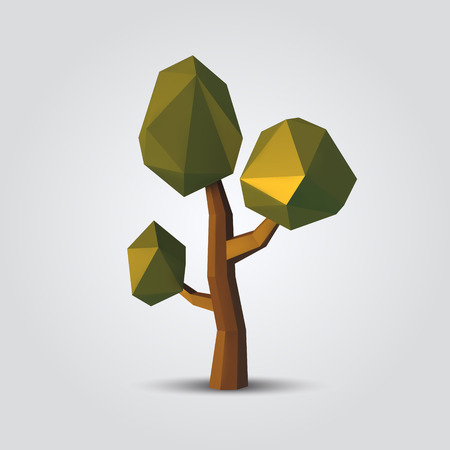 Low poly tree vector illustration. geometric polygonal element for poster, banner, flyer 向量圖像