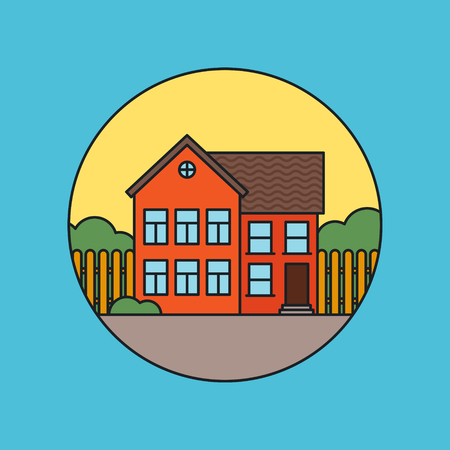 residential houses: Retro flat residential house icon.