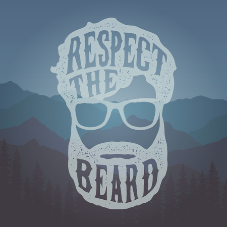Hand drawn vintage label with textured beard and glasses respect the beard. 向量圖像