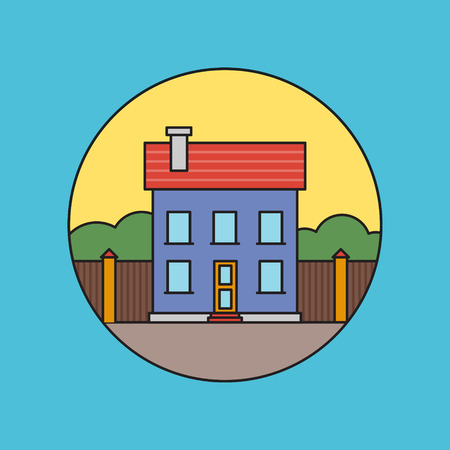 Retro flat residential house icon vector illustration