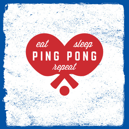 ping pong emblem table tennis logotype template on grunge background.