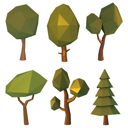 Set of low poly trees geometric polygonal elements for poster, banner, flyer