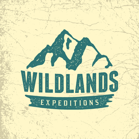 Vintage hand drawn outdoor adventure badge vector logo template with ink texture 向量圖像