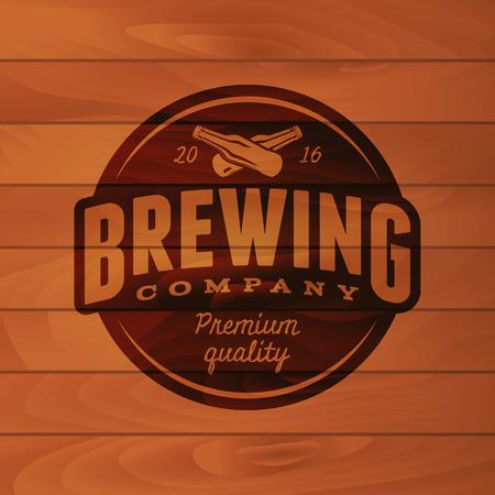 lager beer: Vintage brewery badge beer brewing label vector illustration Illustration