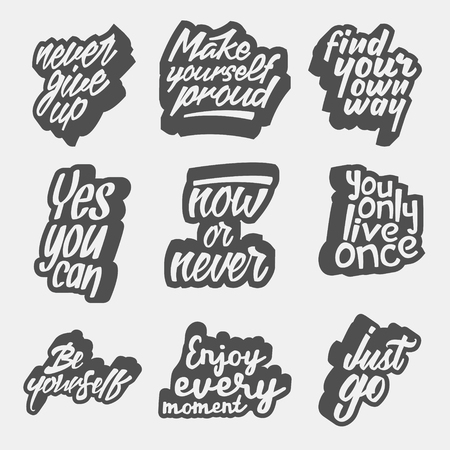 Set of motivational quotes about lifestyle  lettering artworks for inspirational art, t-shirt or bag print 版權商用圖片 - 71936734