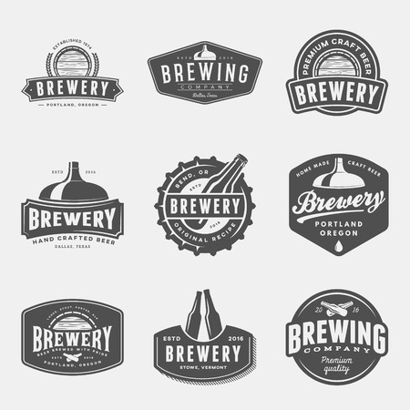 Set of brewery labels, badges and design elements vector illustration 版權商用圖片 - 71936735