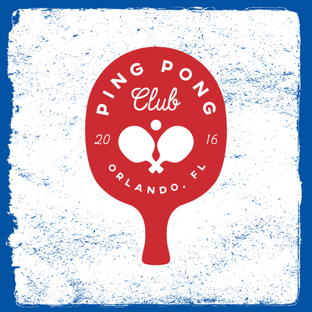 ping pong emblem. table tennis logotype template on grunge background. vector illustration