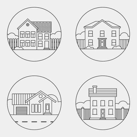 set of retro flat residential house icons. vector illustration