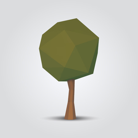 low poly tree vector illustration. geometric polygonal element for poster, banner, flyer