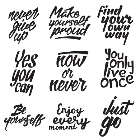 set of motivational quotes about lifestyle. vector typography posters collection. lettering artworks for inspirational art, t-shirt or bag print