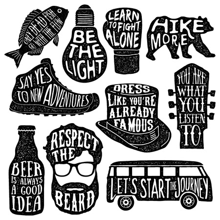 set of hand drawn vintage labels with textured illustrations and inspirational quotes about lifestyle. vector typography posters collection. lettering artworks for t-shirt or bag print. fish, bulb, boxing glove, bear, hiking boot, tall hat, guitar headsto 向量圖像
