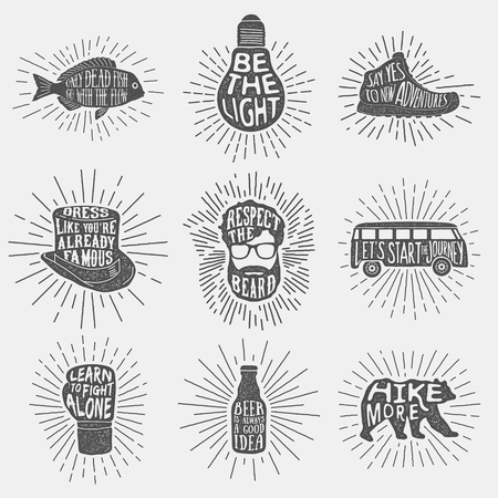 set of hand drawn vintage labels with textured illustrations,  inspirational quotes about lifestyle and sunbursts. vector typography posters collection. lettering artworks for t-shirt or bag print. fish, bulb, boxing glove, bear, hiking boot, tall hat, gu