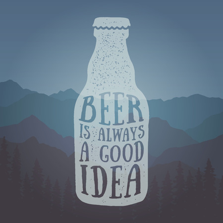 hand drawn vintage label with textured beer bottle illustration and  inspirational quote. beer is always a good idea.vector typography poster. lettering artwork for t-shirt or bag print 版權商用圖片 - 71968621