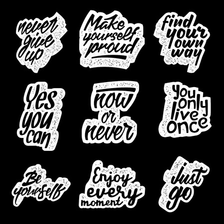 set of motivational quotes about lifestyle. vector typography posters collection. lettering artworks for inspirational art, t-shirt or bag print 版權商用圖片 - 71968627