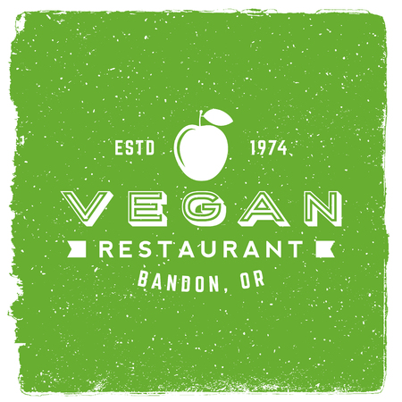 vegetarian restaurant emblem. vegan food logotype template. vector illustration