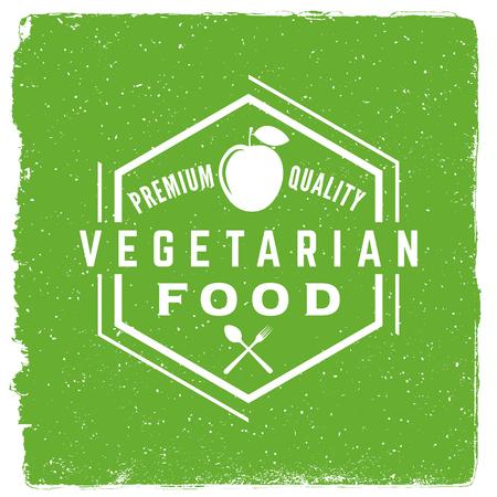 Vegetarian restaurant emblem vegan food logotype template. 版權商用圖片 - 71936775