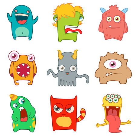 Set of cartoon cute monsters. vector illustration 版權商用圖片 - 71939246