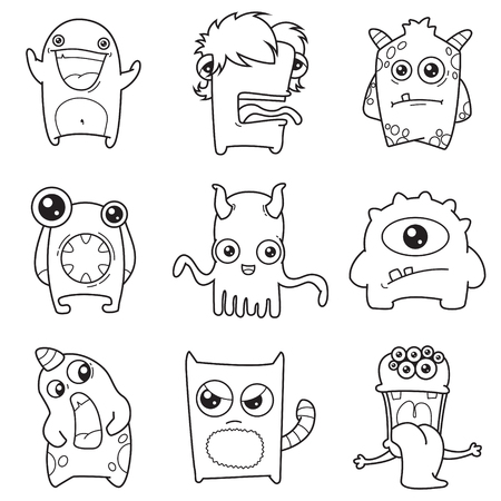 Set of cartoon cute monsters vector illustration