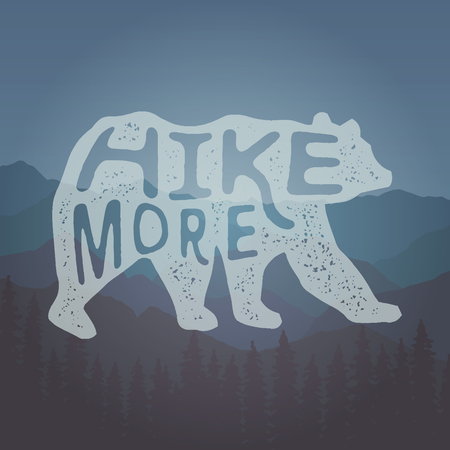 Hand drawn vintage label with  hike more lettering artwork for t-shirt or bag print 向量圖像