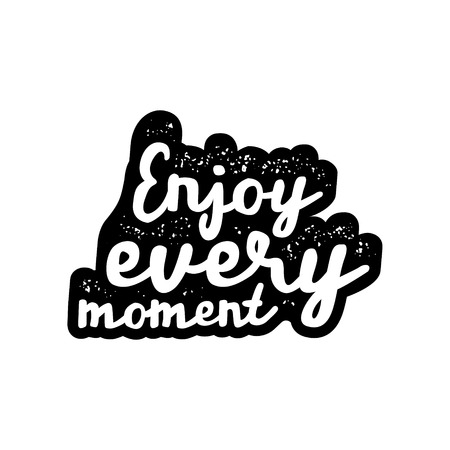 Inspirational quote with enjoy every moment.  lettering artwork for t-shirt or bag print 版權商用圖片 - 71942695