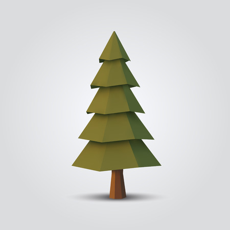 Low poly tree vector illustration geometric polygonal element for poster, banner, flyer 矢量图像