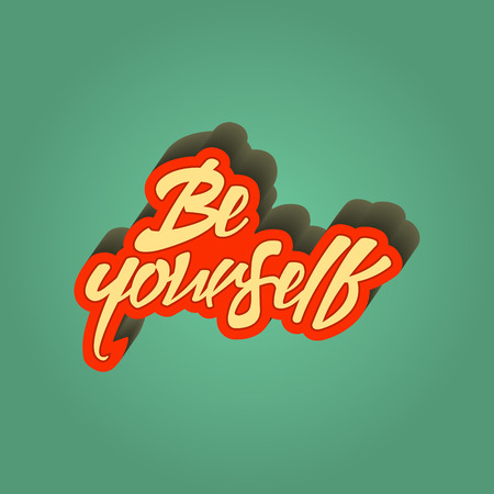 Inspirational quote retro illustration be yourself lettering artwork for t-shirt or bag print