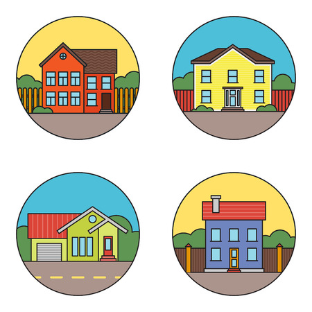 residential houses: Set of retro flat residential house icons.