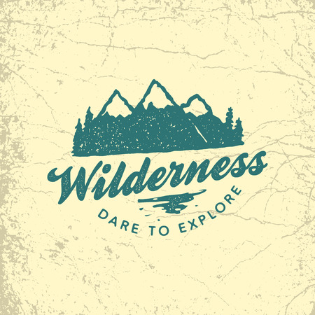 vintage hand drawn outdoor adventure badge. vector logo template with ink texture 版權商用圖片 - 71968526