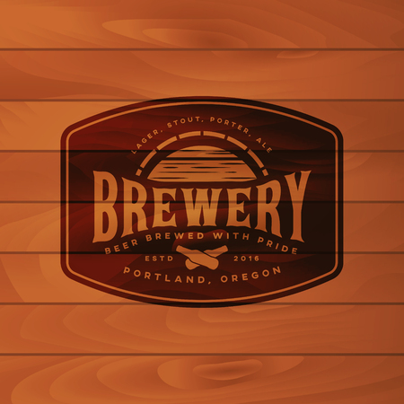 vintage brewery badge. beer brewing label. vector illustration