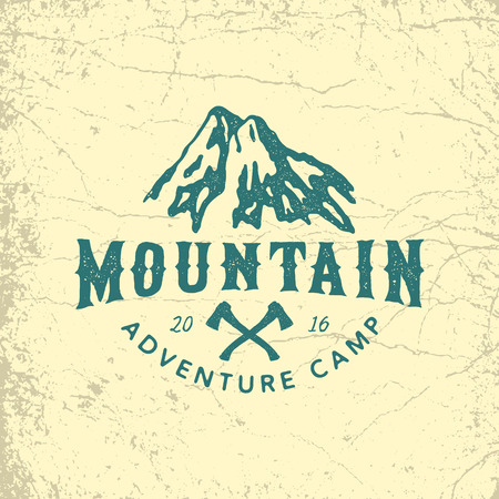 vintage hand drawn outdoor adventure badge. vector logo template with ink texture