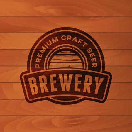vintage brewery badge. beer brewing label. vector illustration