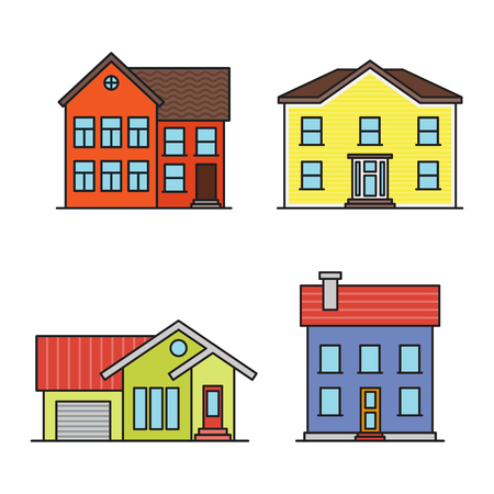residential home: Set of retro flat residential house icons.