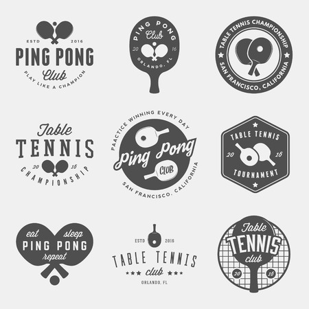 vector set of ping pong logos, emblems and design elements. table tennis logotype templates and badges