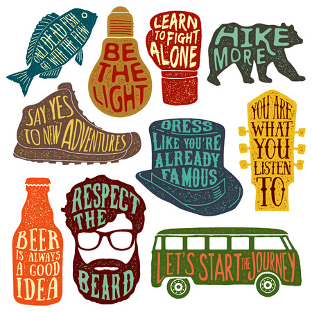 t bulb: set of hand drawn vintage labels with textured illustrations and inspirational quotes about lifestyle. vector typography posters collection. lettering artworks for t-shirt or bag print. fish, bulb, boxing glove, bear, hiking boot, tall hat, guitar headsto Illustration