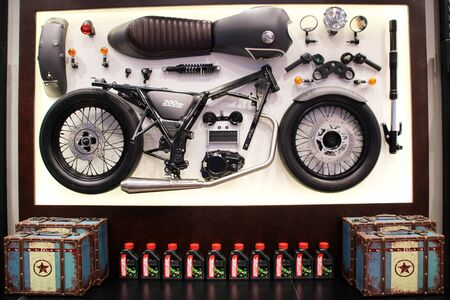Set spare parts of motorcycle on the wall repair and maintenance old parts