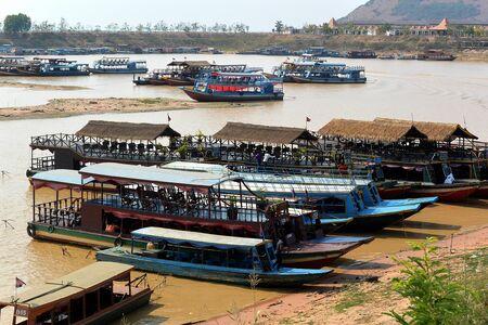Pleasure motor boats take tourists from Siem Reap to Tonle Sap Lake, Cambodia, Southeast Asia Stock Photo