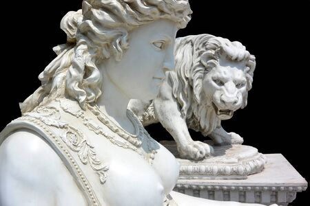 Classical sculptures of the Sphinx and Leo on a black background horizontal photo Banco de Imagens