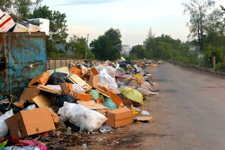 Mountains of household garbage along the roadsides, Sihanoukville, Cambodia