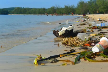 Gulf Coast Pollution by Domestic Garbage, Sihanoukville, Cambodia Stock Photo