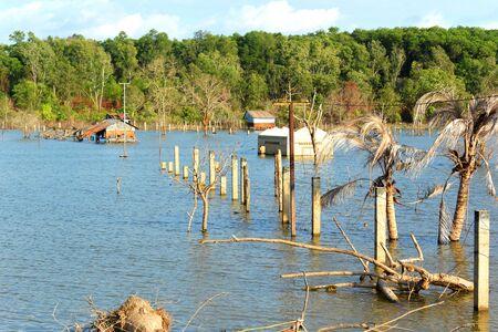 City water intake construction, flooded village, Cambodia, Sihanoukville