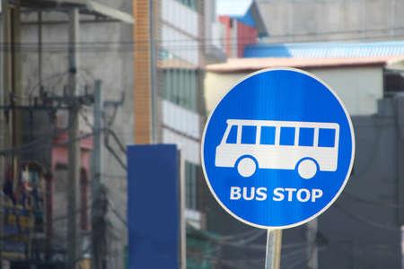 Round Blue Road Sign Bus Stop Zdjęcie Seryjne