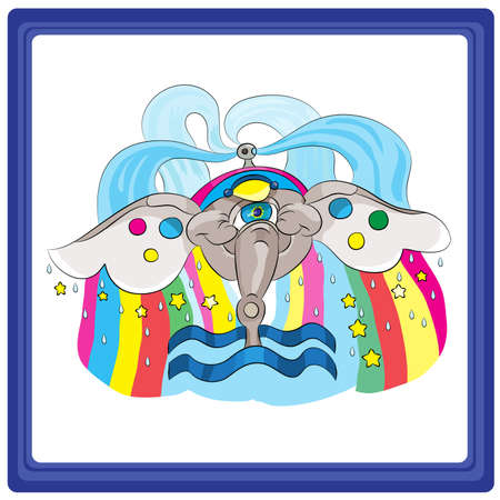 eleventh: Aquarius - the eleventh sign of the zodiac horoscope. Illustration