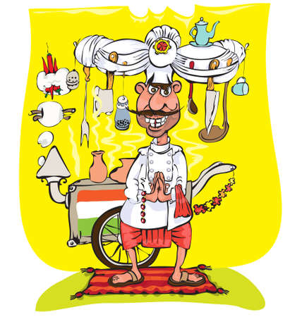 happy chef: Chef - The Hindu , is preparing a national food Stock Photo